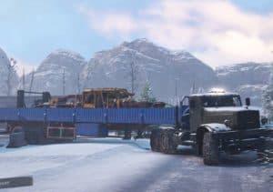 КрАЗ 255 с бортовым прицепом в Snowrunner