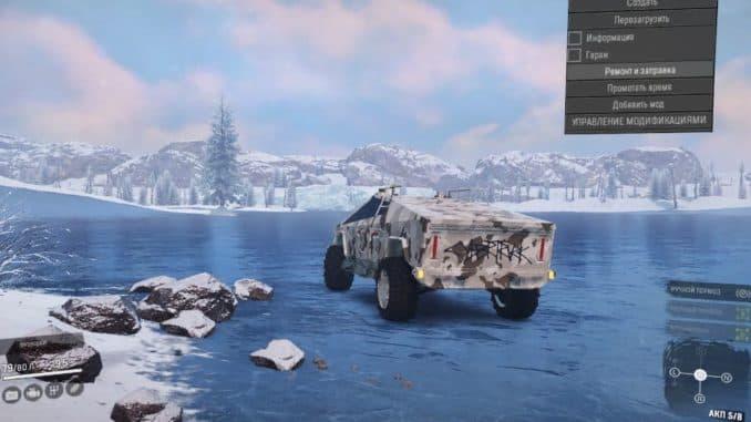 Тесла Кибертрак на льду в SnowRunner